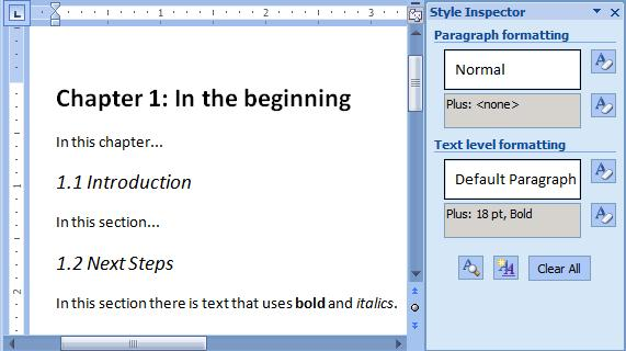 Word document that uses formatting instead of styles